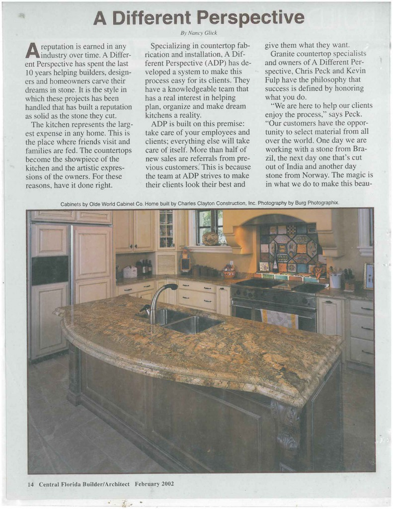 Front Page of Central Florida Builder Magazine in 2002.